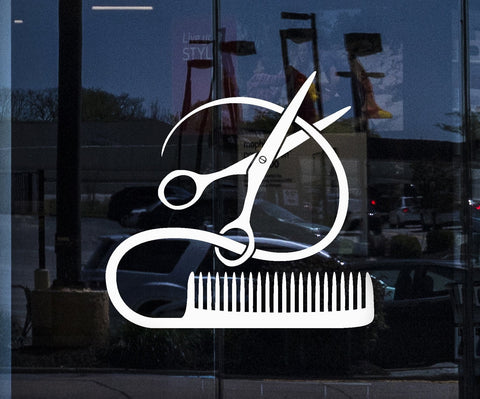 Window and wall decal barber tools sticker hairstyle hair stylist hair salon beauty decor unique gift