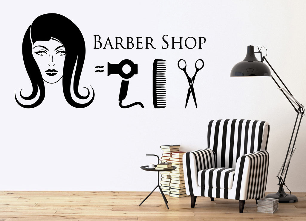 Vinyl Decal Barber Shop Wall Sticker Hair Beauty Salon Hairdresser Hairstyle Unique Gift (ig2393)