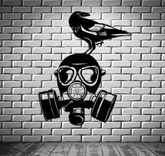 Gas Mask Wall Stickers War Military Bird Cool Decor Vinyl Decal Unique Gift (ig2397)