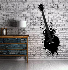Guitar Wall Stickers Music Musical Instrument Grunge Vinyl Decal (ig2405)