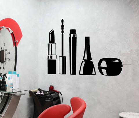 Vinyl Decal Wall Sticker Mascara Lipstick Cosmetics Makeup Girl Woman Decor for Beauty Salon Unique Gift (ig2423)
