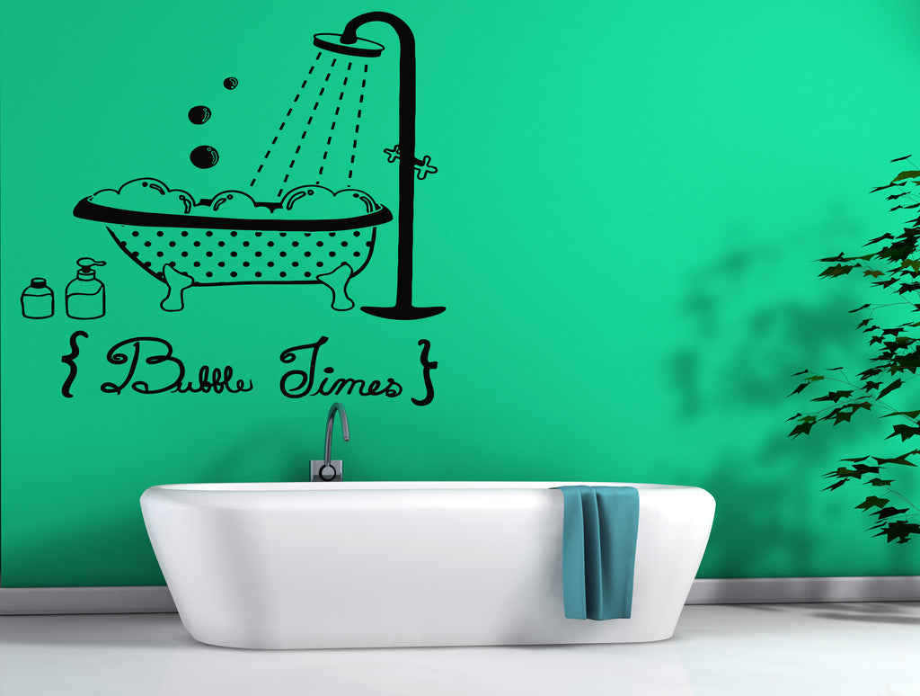 Vinyl Decal Decor for Bathroom Wall Sticker Bath Bathing Shower Bathtub Bubbles (ig2447)