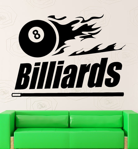 Vinyl Decal Billiards Wall Sticker Hobbies Sport Leisure Entertainment Shooting Pool Man Cave Decor (ig2454)