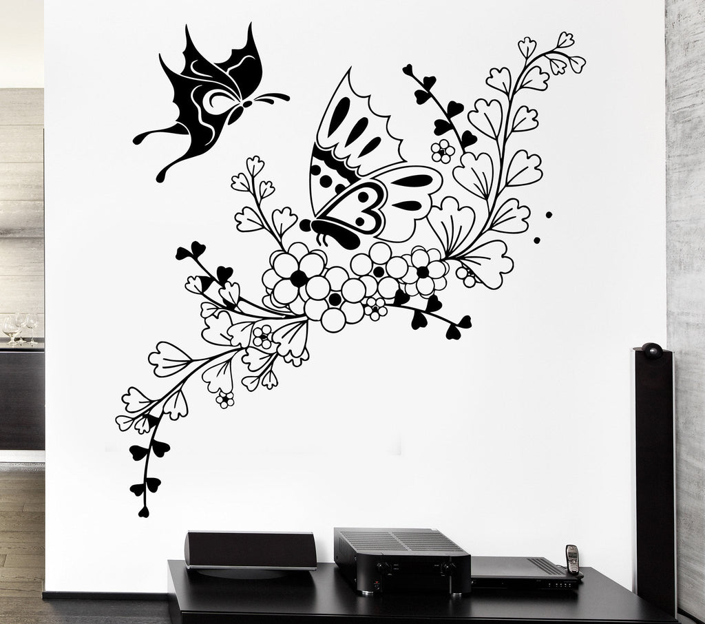 Vinyl Decal Beautiful Butterfly Flower Ornament Wall Sticker Plant Pattern  Decor For Living Room (ig2462