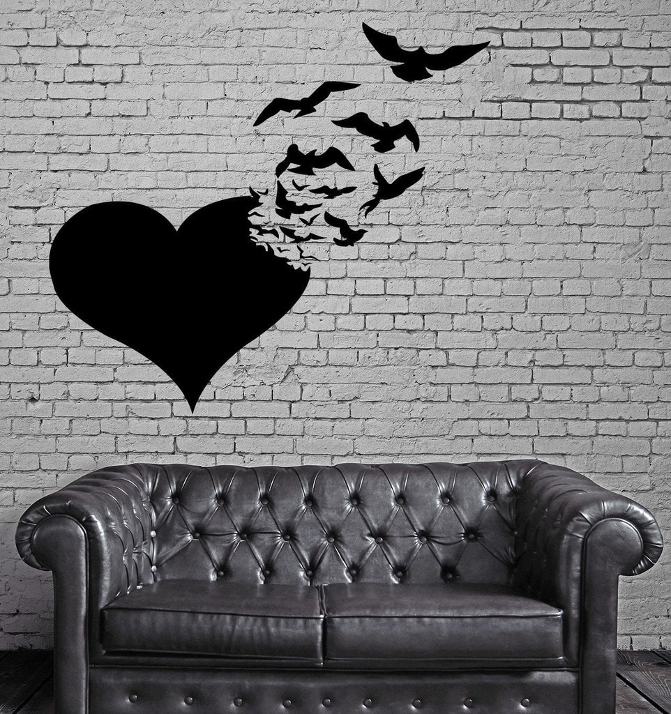 Love Wall Stickers Heart Birds Abstract Romance Vinyl Decal (ig2466)