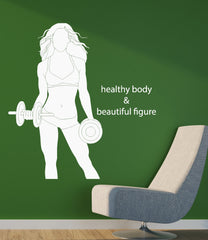 Gym Fitness Wall Stickers Sports Healthy Lifestyle Body Figure Vinyl Decal Unique Gift (ig2492)