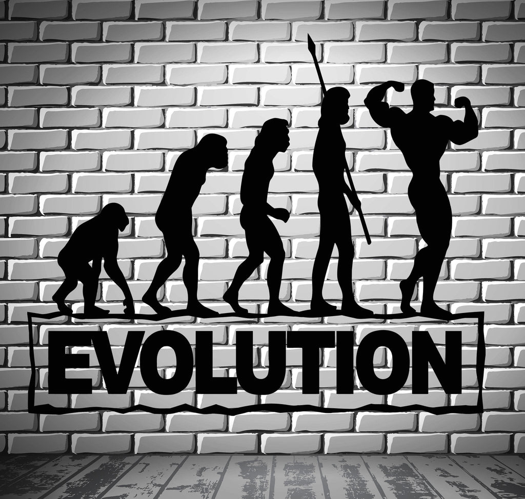 Gym Sports Wall Decal Bodybuilding Fitness Evolution Stickers Art Mural Unique Gift (ig2511)