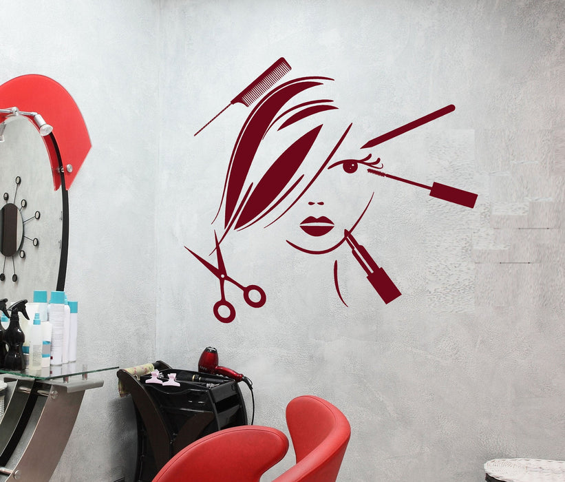 Vinyl Decal Beauty Salon Decor Hair Stylist Tools Spa Barber Style Wall Sticker Mural Unique Gift (ig2529)