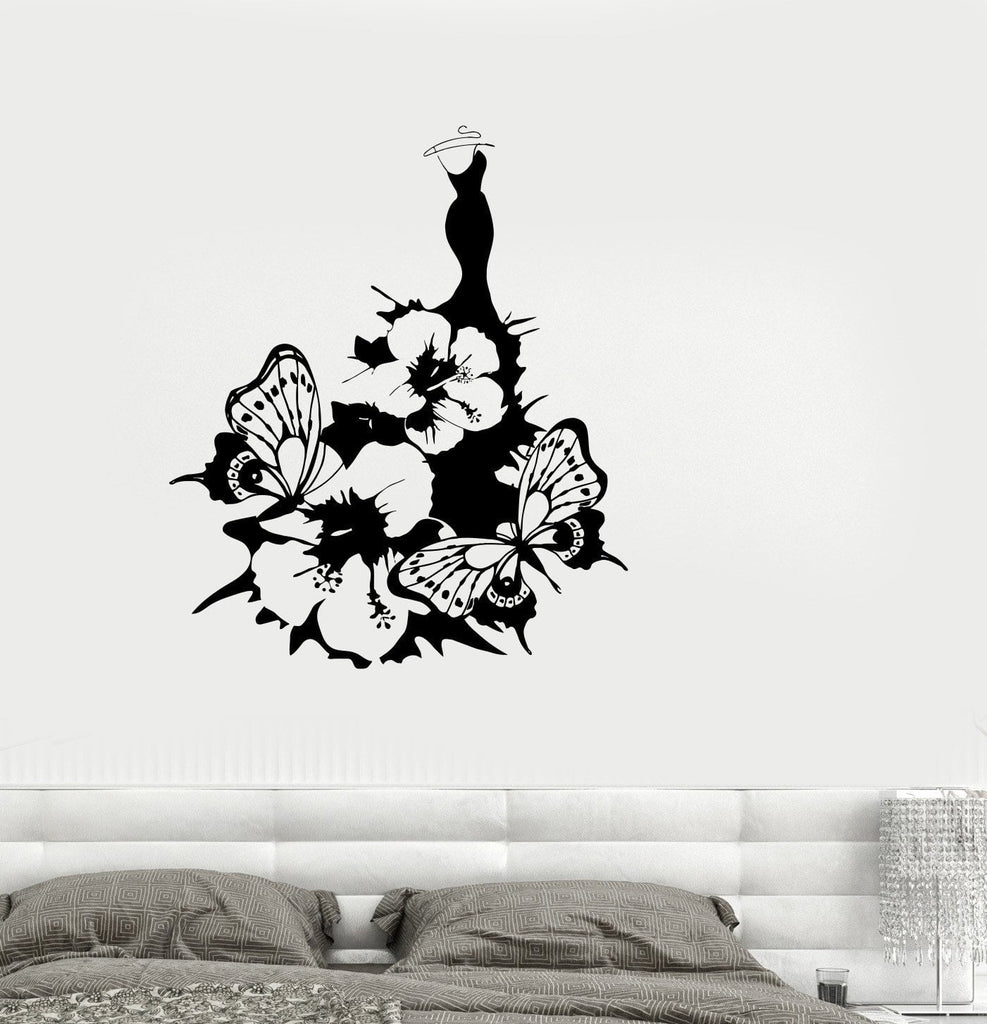 Vinyl Decal Women's Dress Fashion Flower Butterfly Girl Room Wall Stickers Unique Gift (ig2612)