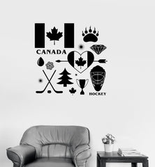 Vinyl Decal Canada Canadian Symbol Maple Leaf Hockey Wall Stickers Unique Gift (ig2620)