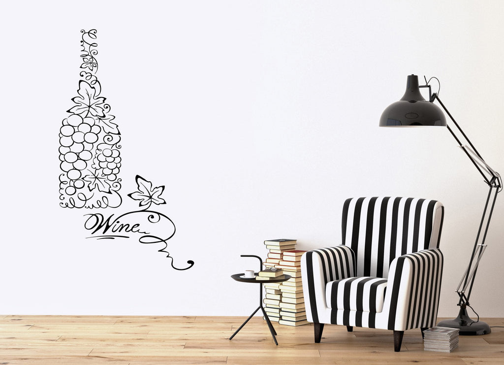 Vinyl Decal Bottle Wine Grapes Kitchen Restaurant Decor Wall Stickers Unique Gift (ig2622)