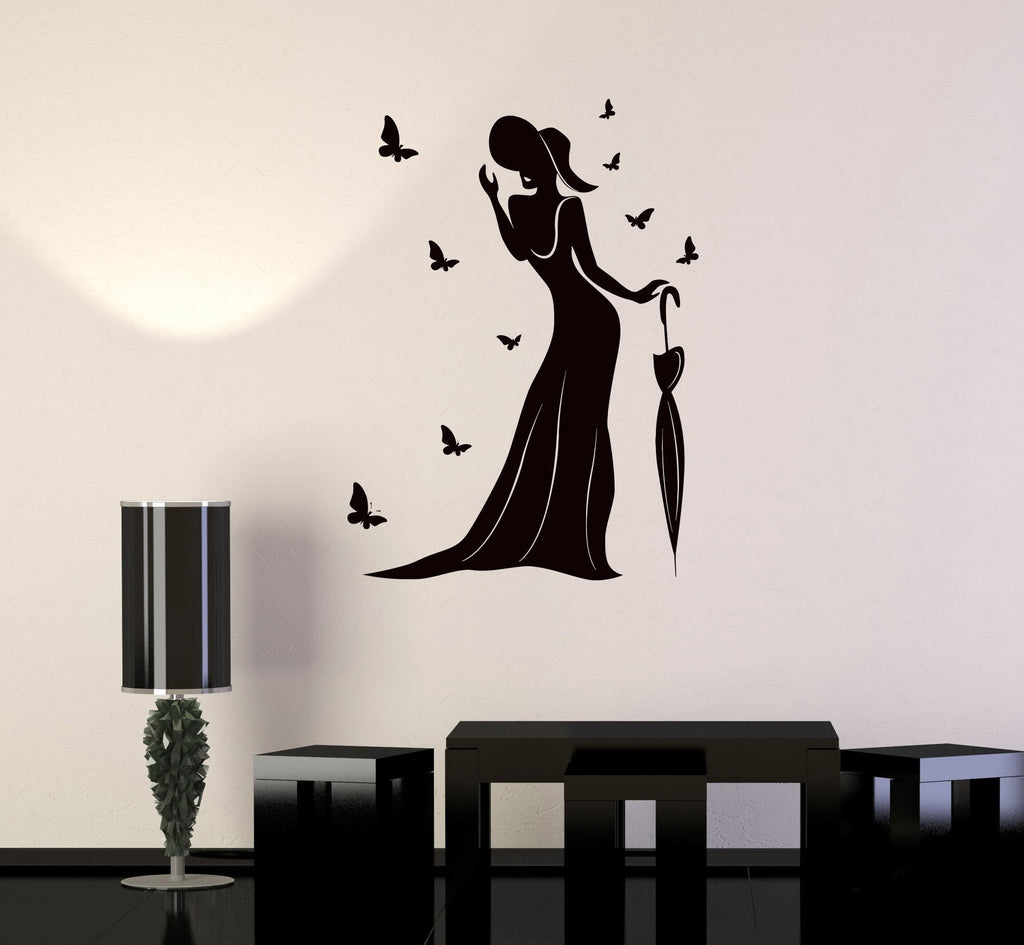 Vinyl Wall Decal Beautiful Woman Butterfly Beauty Centre Stickers Unique Gift (ig2635)