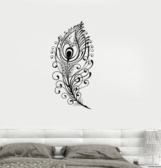 Vinyl Decal Peacock Feather Beautiful Wall Sticker Living Room Decor Girls Room Decoration Unique Gift (ig2651)