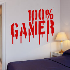 Gamer Wall Vinyl DecalVideo Games Playroom for Boys 100% Gamer  Sticker (ig2655)