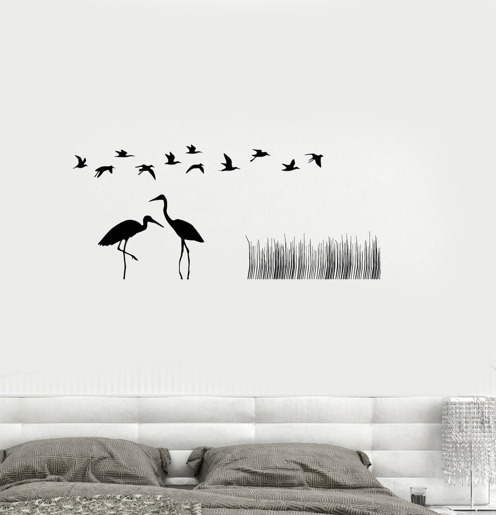 Vinyl Decal Flamingo Birds Nature Reed Room Decoration Wall Stickers Unique Gift (ig2660)