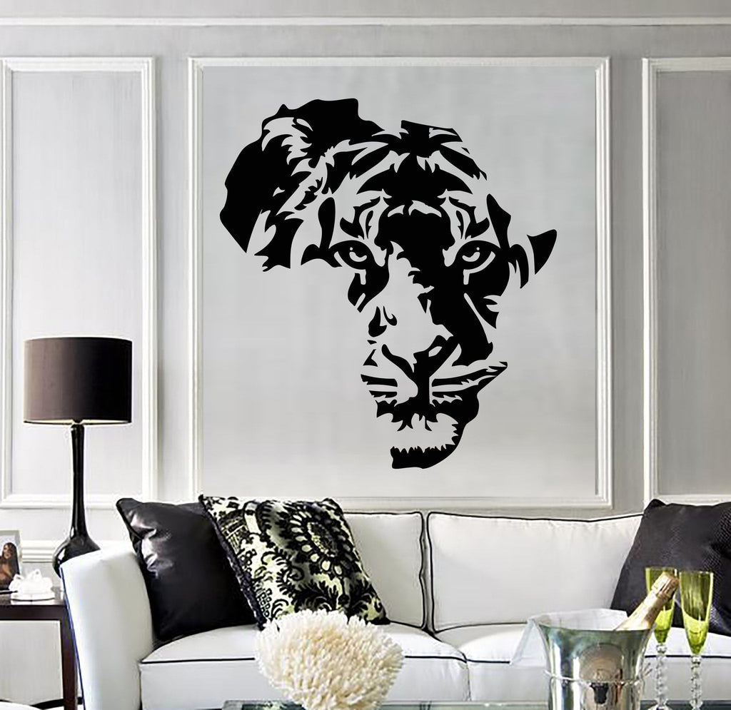 Vinyl Decal Tiger Animal Africa Map Kids Room Wall Stickers Decor Mural  Unique Gift (ig2711