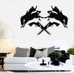 Wall Stickers Vinyl Decal Texas Cowboy Rodeo Horse Revolver Silhouette Unique Gift (ig305)