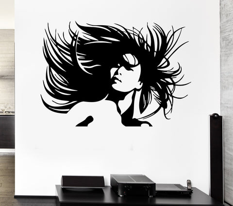 Vinyl Decal Beautiful Woman Portrait Crazy Hair Salon Wall Sticker Sexy Girl Hair Hairstyle (ig370)