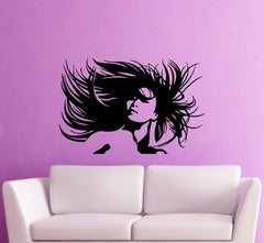 Vinyl Decal Beautiful Woman Portrait Crazy Hair Salon Wall Sticker Sexy Girl Hair Hairstyle Unique Gift (ig370)