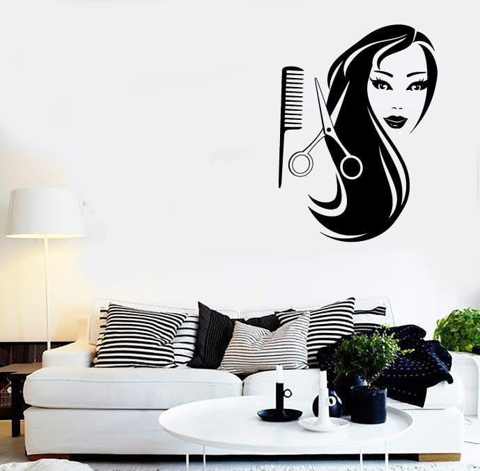 Wall Stickers Vinyl Decal Sexy Woman Long Hair Salon Scissors Comb Unique Gift (ig442)