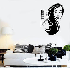Wall Stickers Vinyl Decal Sexy Woman Long Hair Salon Scissors Comb (ig442)