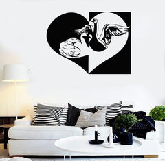 Wall Stickers Vinyl Decal Swan Bird Love Romantic Bedroom Decor (ig484)