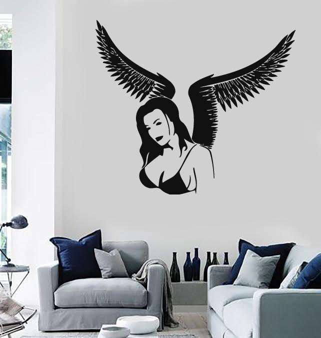 Wall Stickers Vinyl Decal Sexy Gothic Girl with Wings Decor for Room Unique Gift (ig548)