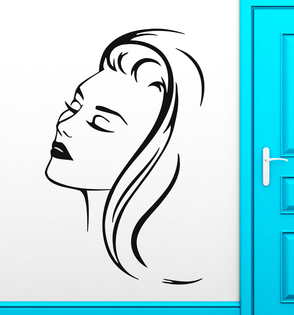 Vinyl Decal Beautiful Woman Portrait Barbershop Beauty Salon Wall Sticker Sexy Girl Hair Hairstyle (ig578)