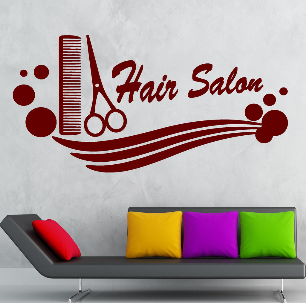 hair salon vinyl decal comb scissors hairdresser haircut wall stickers wallstickers4you. Black Bedroom Furniture Sets. Home Design Ideas