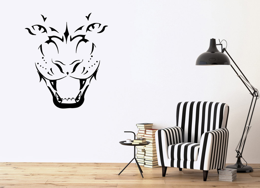 Tiger Wall Stickers Grin Animal Predator Tribal Vinyl Decal Unique Gift (ig643)