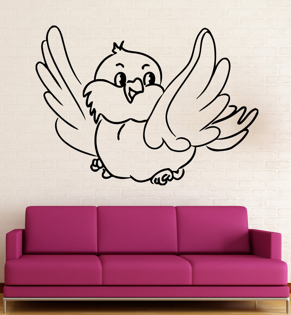 Vinyl Decal Little Canary Bird Wall Sticker Cute Decor for Nursery Children Kids Room Unique Gift (ig653)