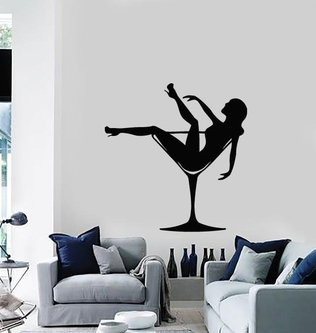 Wall Stickers Vinyl Decal Sexy Girl in Glasses Pin Up Party Striptease Unique Gift (ig673)
