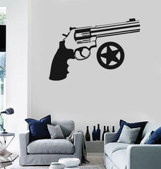 Wall Stickers Vinyl Decal Weapons Revolver Gun Star Sheriff ig862