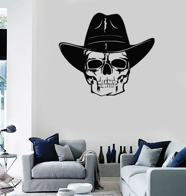 Wall Stickers Vinyl Decal Skull Cowboy Hat Texas Dead (ig863)