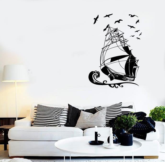 Wall Stickers Vinyl Decal Ship Yacht Marine Ocean Pirate Kids Room (ig960)