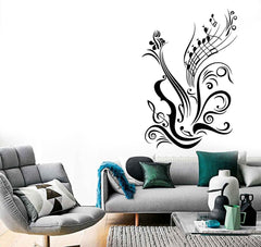 Music Vinyl Decal Guitar Notes Cool Decal for Room Wall Stickers  (ig965)