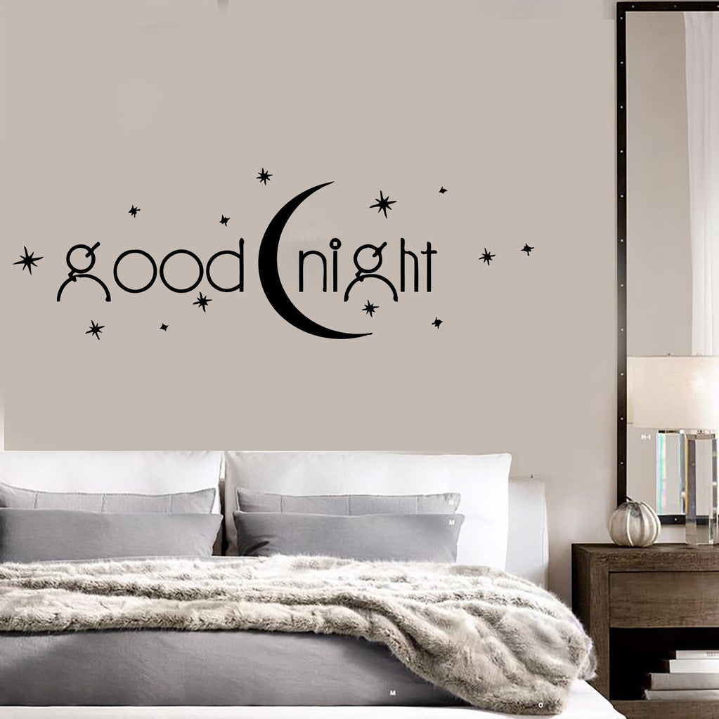 Decal vinyl bedroom quote goodnight romance moon stars for Bedroom wall images