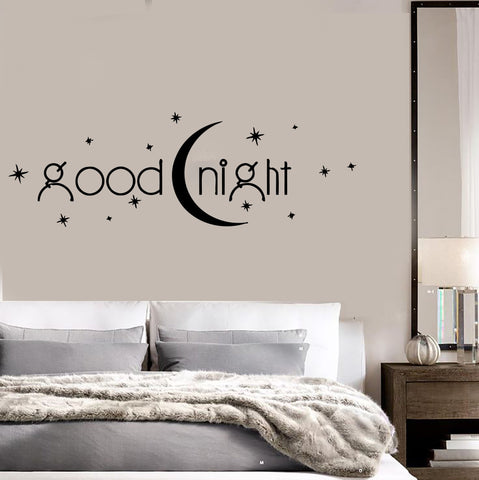 Decal Vinyl Bedroom Quote Goodnight Romance Moon Stars Wall Stickers (ig1408)