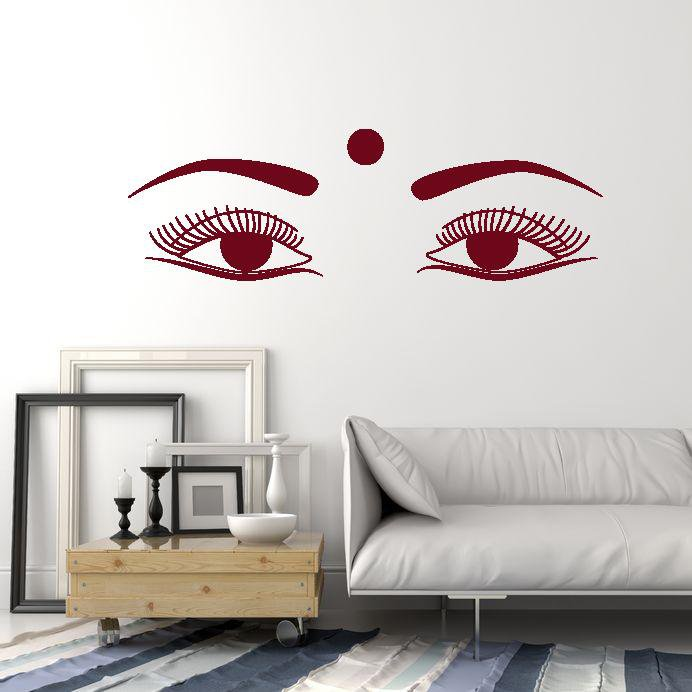 vinyl wall decal indian woman female beautiful eyes india hindu