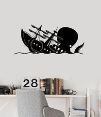Funny Kraken Vinyl Wall Decal Octopus Ship Wave Nautical Art Stickers Mural (ig5296)