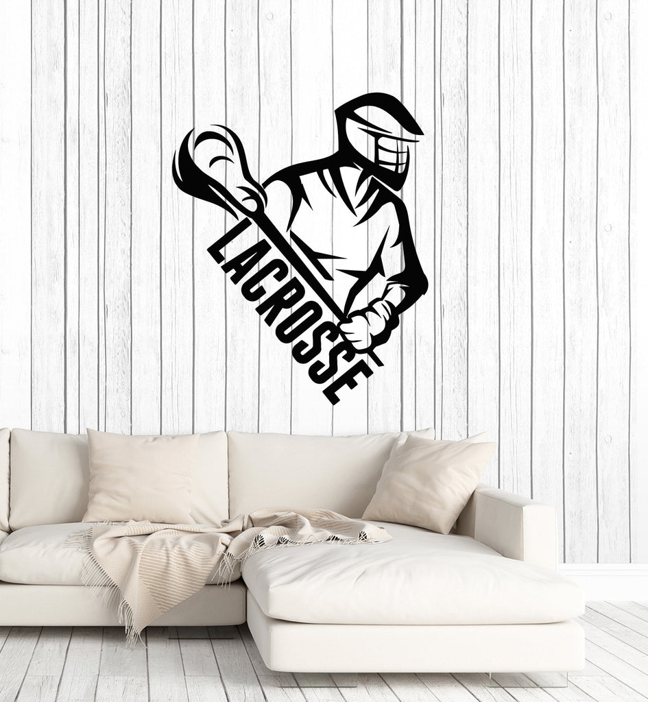 Vinyl wall decal lacrosse player stick word sports art interior sticke wallstickers4you