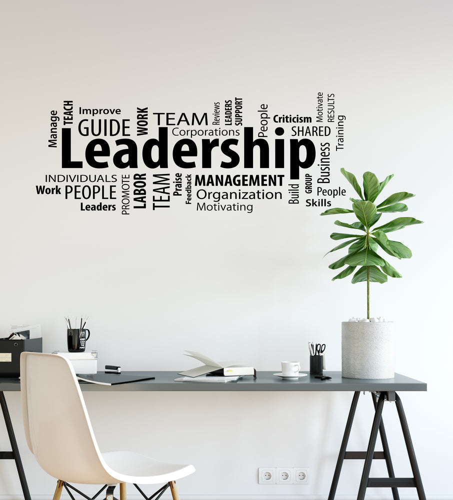 Vinyl Wall Decal Leadership Business Motivational Words Cloud Office Team Work Stickers Mural (ig6225)