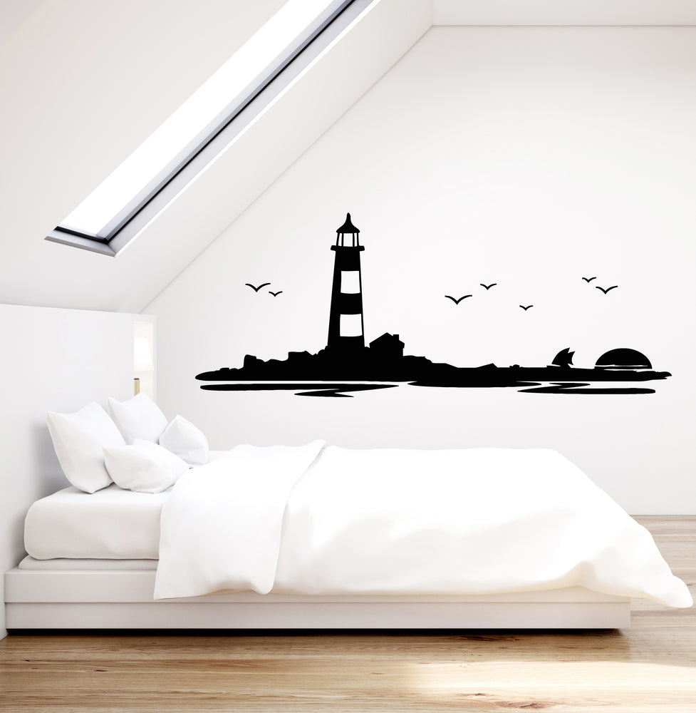 Vinyl Wall Decal Lighthouse Beach House Ocean Birds Sunset Boat Stickers Mural (g1321)