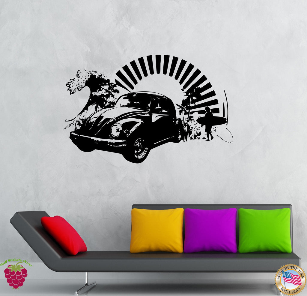 vinyl decal wall sticker volkswagen bug antique car surfing beach deco wallstickers4you. Black Bedroom Furniture Sets. Home Design Ideas