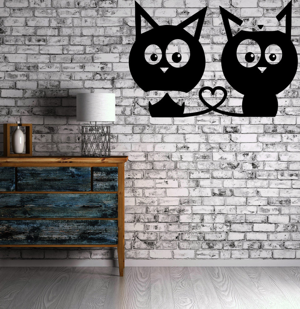 Kittens Love Heart Wall MURAL Vinyl Art Sticker Kids Room Unique Gift M012