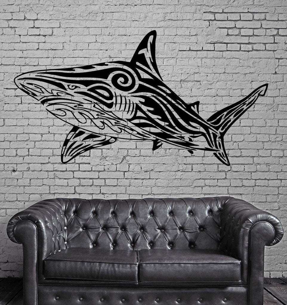 Big White SHARK Marine Sea Ocean Tribal Decor Wall MURAL Vinyl Art Sticker M084