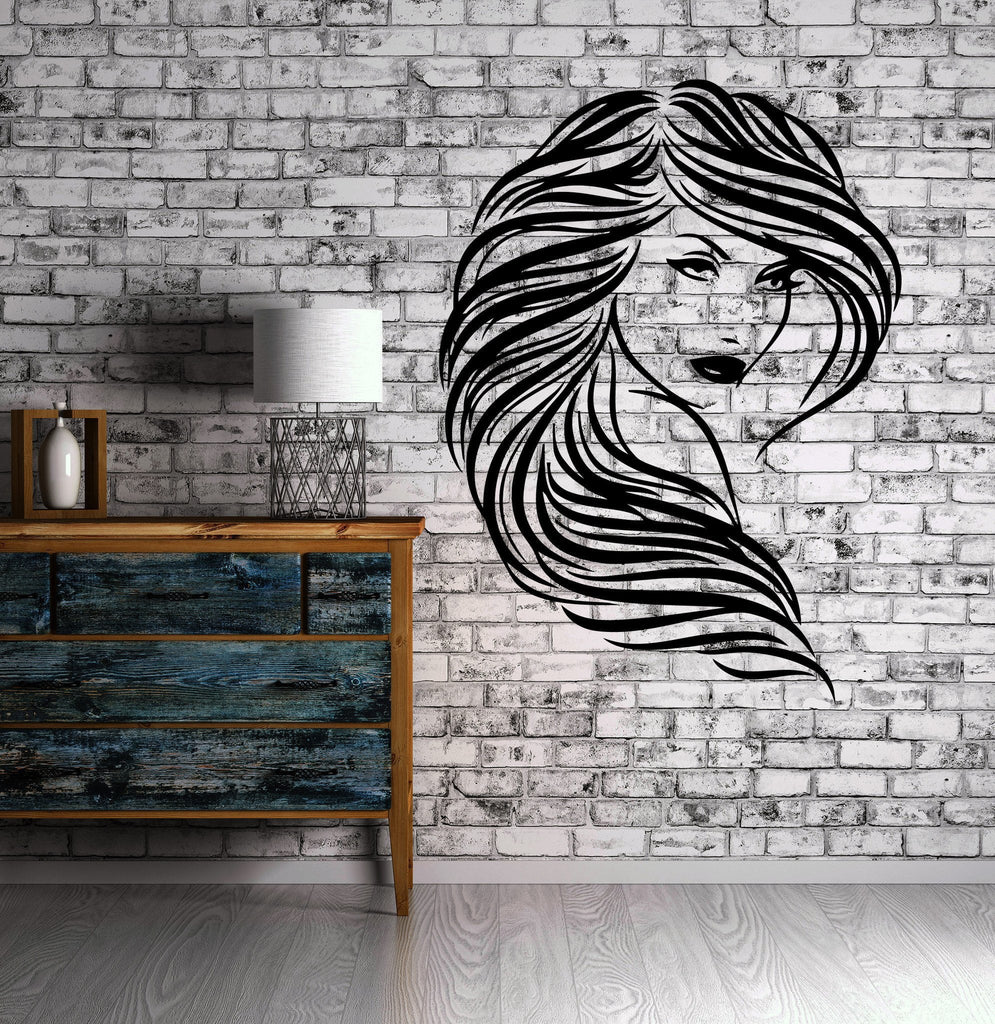 Beautiful Girl Wavy Hair Salon Wall Decor Mural Vinyl Decal Art Sticker M097