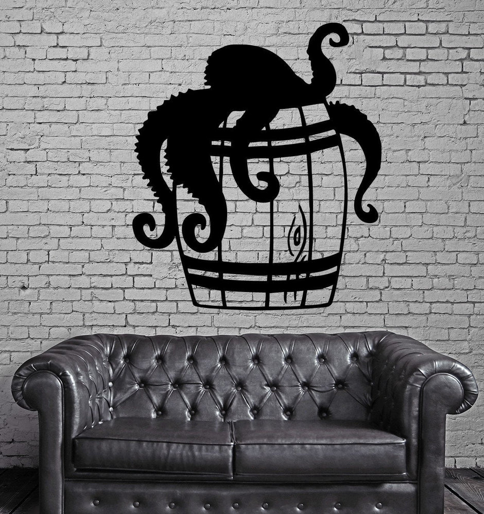 Octopus in Barrel Sea Funny Marine Wall Decor Mural Vinyl Decal Art Sticker Unique Gift M162