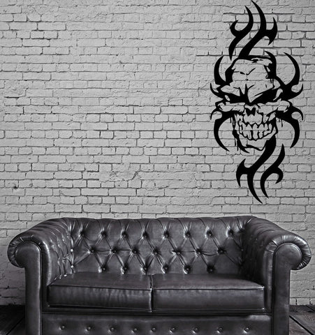 Skull with Flames Gothic Biker Auto Decor Knifes Wall Sticker Vinyl Decal (m173)