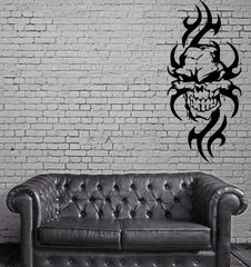 Skull with Flames Gothic Biker Auto Decor Knifes Wall Sticker Vinyl Decal Unique Gift (m173)